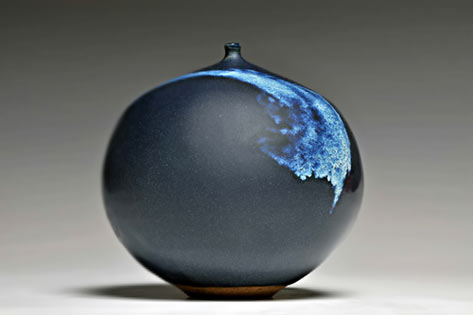 Ginny Marsh spherical ceramic vessel with drip glaze