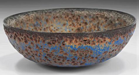 Natzler crater bowl, glazed earthenware with burst-bubble glaze