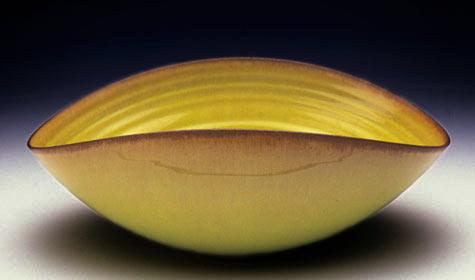 Gertrud & Otto Natzler folded bowl, yellow glazed earthenware