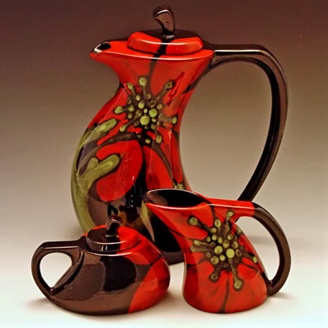 Bold Red Floral Tea Set Romy and clare - etsy
