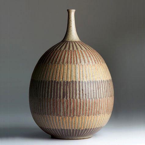 Clyde Burt Ceramic Vessel Incised design