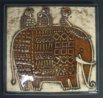 Ceramic Tile Elephant with 3-Riders Sweden