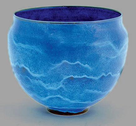 Gertrud & Otto Natzler earthenware-footed bowl