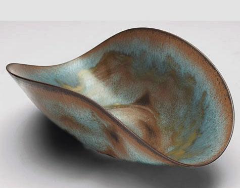 Natzler bowl folded shape bowl