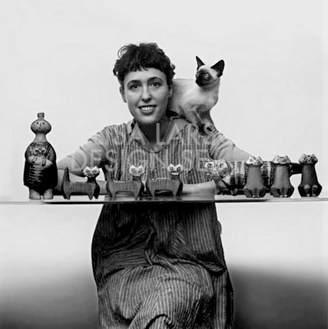 Lisa Larson with cats