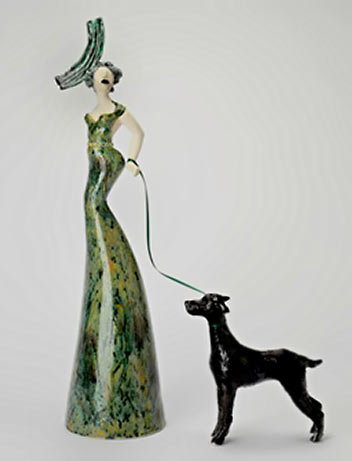 AYELET LALOR-Green Diva with dog