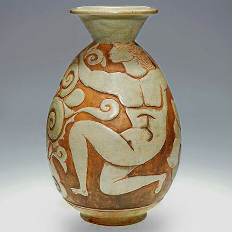 figure vase Rene Buthaud attributed