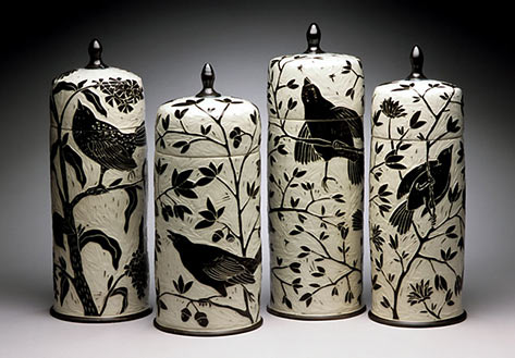 Tall bird jars Karen Newgard