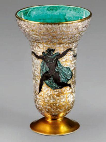 Vase polychrome glazed French ceramic - Jean Mayodon