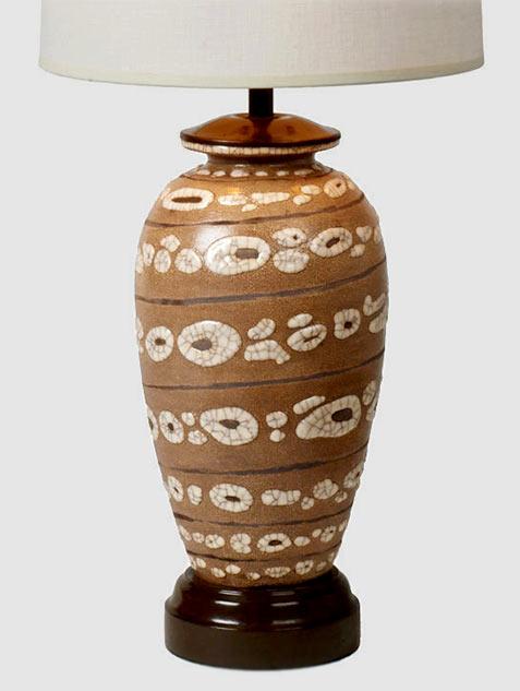 French glazed ceramic table lamp - Rene Buthaud