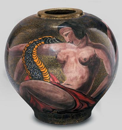 Stoneware vase with paunchy shape Jean Mayodon