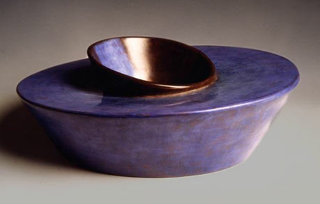 1998 Sinking Blue contemporary ceramic sculpture by Carme Collell