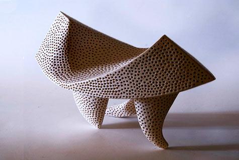 Tri legged Sculpture done in chamotada white - Rafaela Pareja