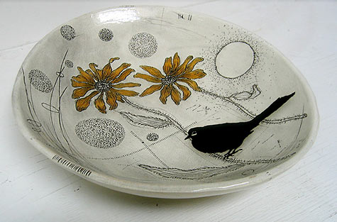 Black eyed susan and black bird - large oval dish