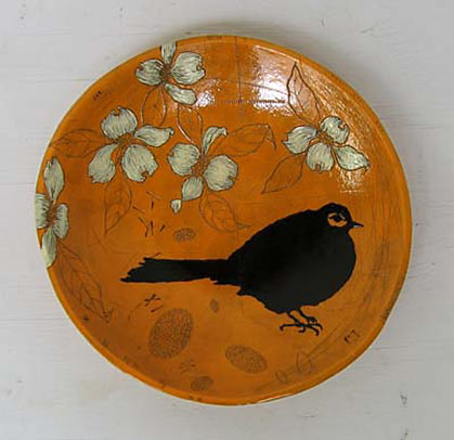 Diana Fayt - orange plate with blackbird