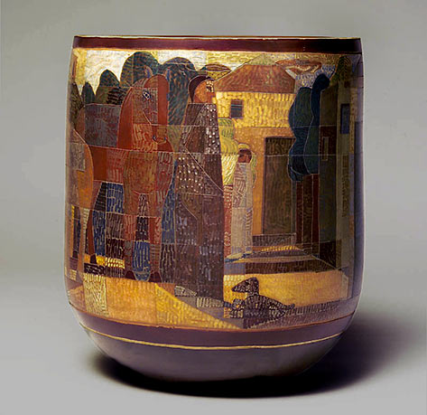 Josep Collell ceramic vessel with abstract cubist motif