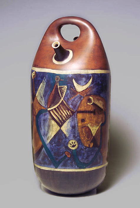 Josep Collell.1973 abstract decorated ceramic spouted vessel