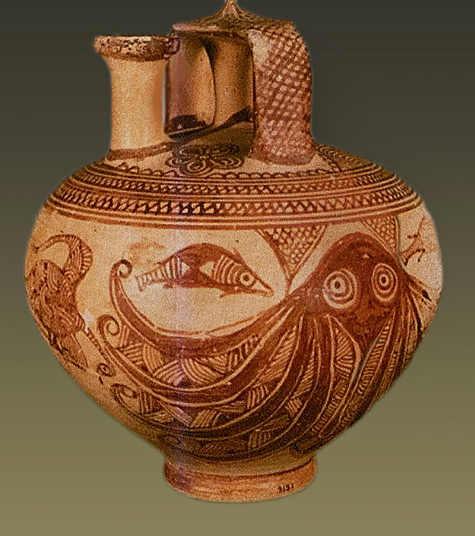 Mycenaean fish and octopus pitcher