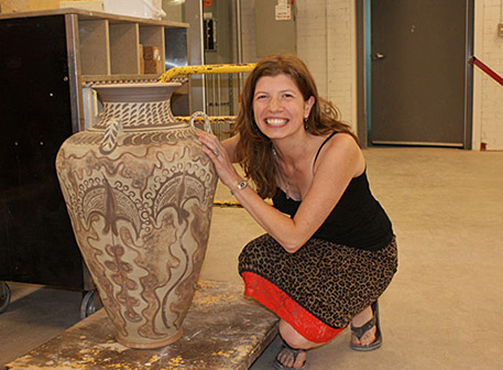Wendy Shirran with a three handled Amphora