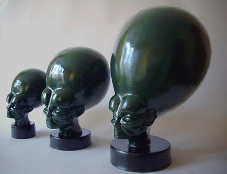 Mekons -sculpture heads by Catherine Warwick