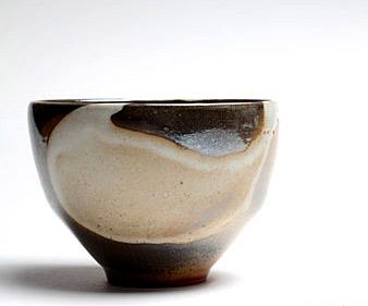 Shino tea bowl by Angela Walford