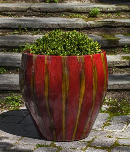 Chantal-Planter Campania - ceramic red glaze with gold stripes
