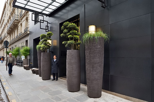 Hotel-Marignan Atelier Vierkant large planters at the street entrance