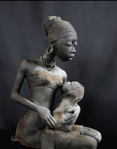 Michele Ludwiczak mother feeding child sculpture