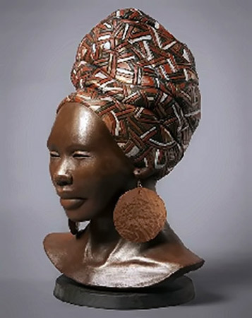 Lindy Lawler ceramic sculpture of an African female bust