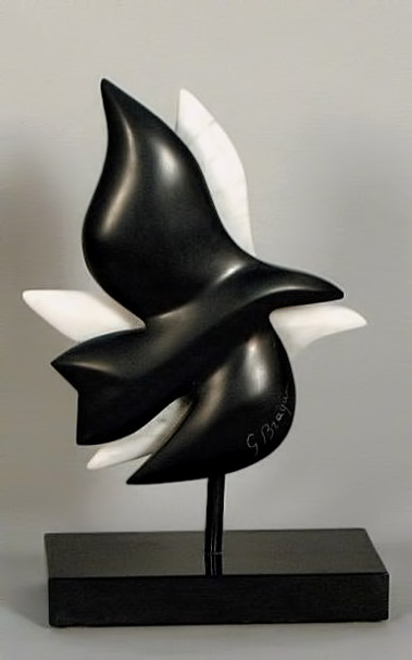 Braque,-Georges black and white birds marble sculpture