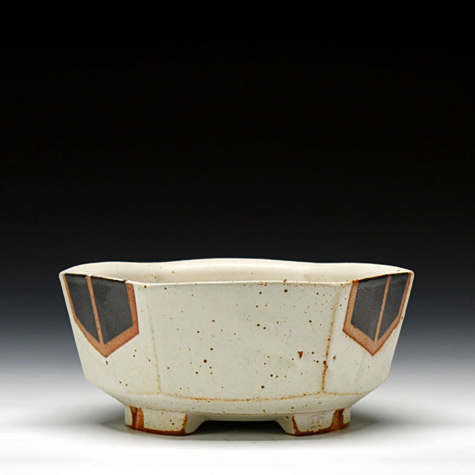 JEFF-OESTREICH-6-sided-bowl-Schaller-Gallery thrown-and-altered-soda-fired-stoneware-with-multiple-glazes