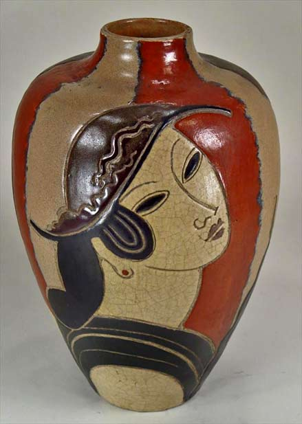 French Art Deco face motif vase - Rene-Buthaud-igavel-auctions-