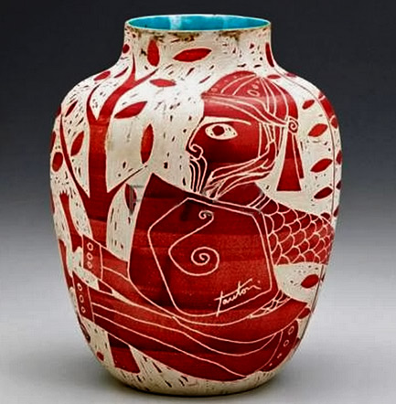 MARCELLO-FANTONI-Etruscan-ceramic-vase-with-sgraffito-decoration--the-interior-covered-in-blue-glaze red on white exterior