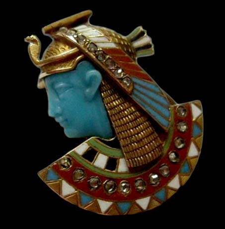 18ct-Gold-Rose-Cut-Diamonds-Enamel-Egyptian-Revival-Cleopatra-Pin-Jewels