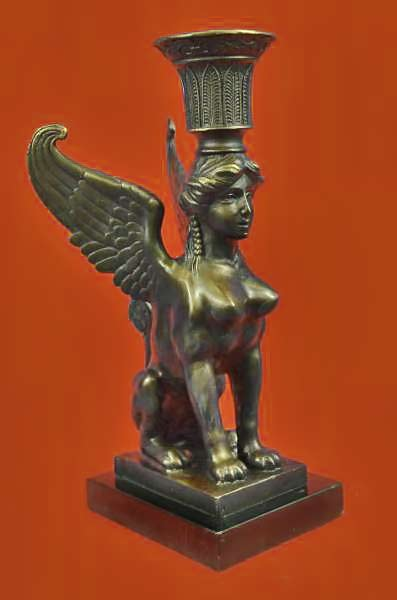 Art-Deco-Anniversary-Gift-Sphinx-Female-Egyptian-Lion-Candleholder-Bronze-Statue
