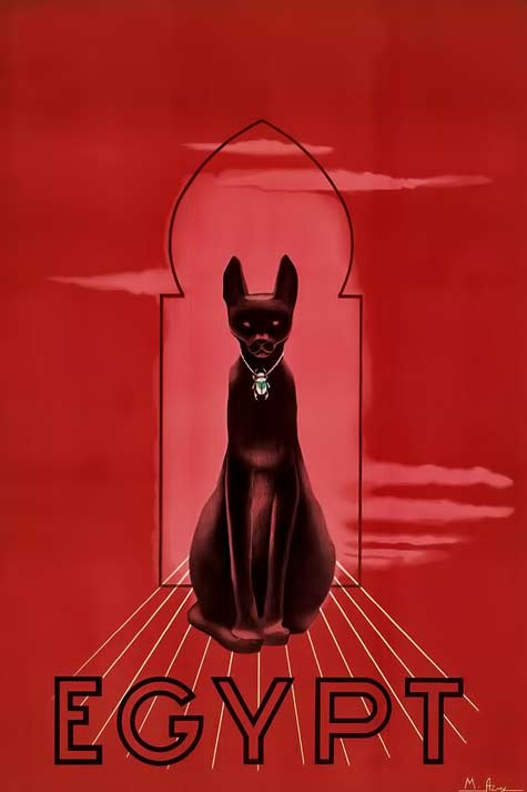 red Egyptian-Revival-poster with image of Bastet