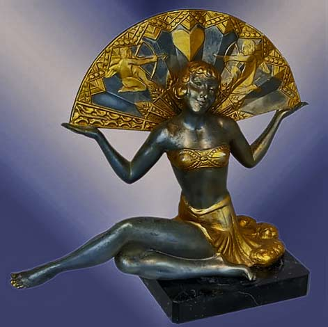 Egyptian-revival-statue---art-deco-lady-holding-a-large-fan