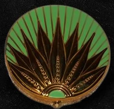 Green and gold art-deco-enamel-compact