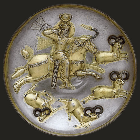 Persian plate with king hunting