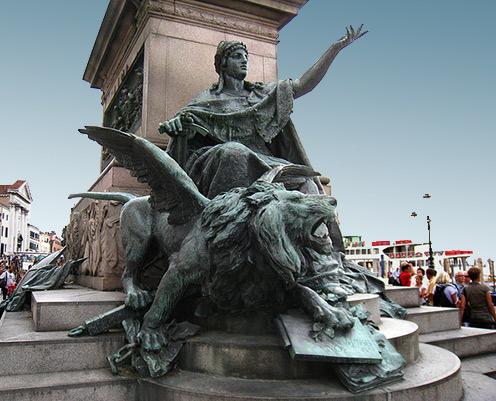 San Marco, the patron saint of Venice.- winged lion sculpture