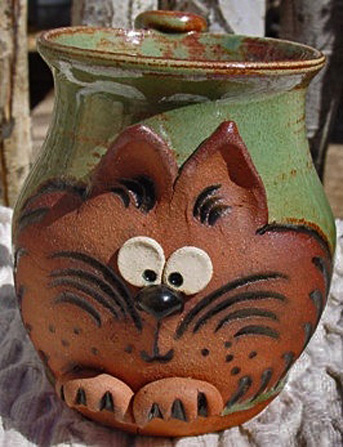 Cheers Pottery etsy ceramic mug with cat motif