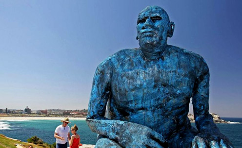 Fibreglass-giant-'I-Sea' Monumental sculpture at the sea by Time Kyle