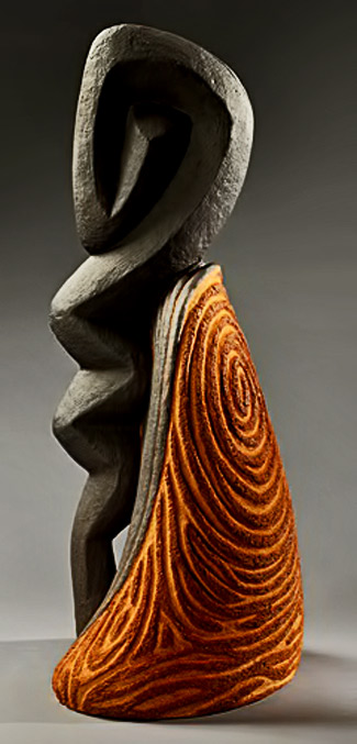 Clayton-Thiel---Truthsayer---abstract ceramic-sculpture carved features