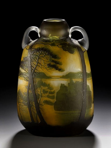 Glass vase decorated with a landscape in ochre, green and black, etched and cut French, Lunéville, by Muller Frère