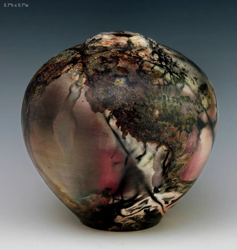 Ron Mello Raku pot ovoid shape in red, black and browns