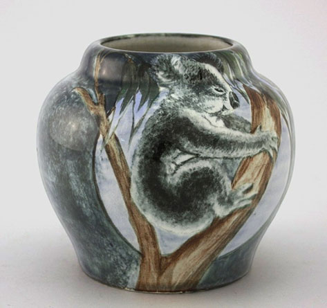Newtone-Pottery-Glazed-vase-with-hand-painted-decoration-of-a-koala-in-a-gum-tree