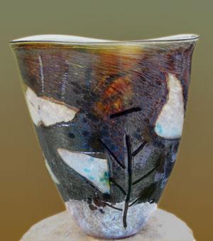 Tim Bassett's hand blown glass vase