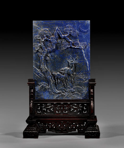 Chinese carved Lapis lazuli panel