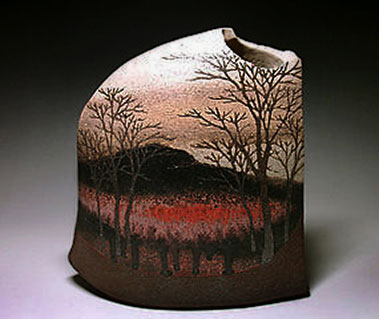 Moriyoshi Saekia ceramic vessel with landscape vista of tress and a mountain kasakayugallery.com