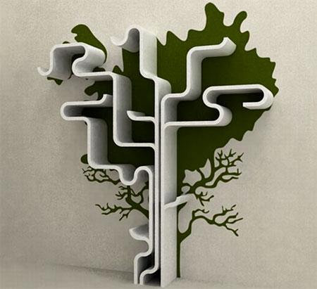 Modern shelves with a tree theme